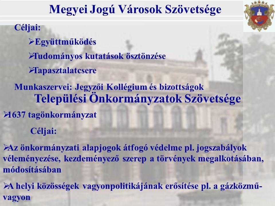 Települési Önkormányzatok Szövetsége  1637 tagönkormányzat Céljai:  Az önkormányzati alapjogok átfogó védelme pl.
