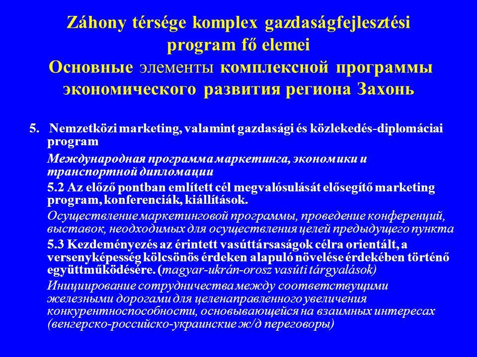 Záhony térsége komplex gazdaságfejlesztési program fő elemei Основные элементы комплексной программы экономического развития региона Захонь 5. Nemzetk