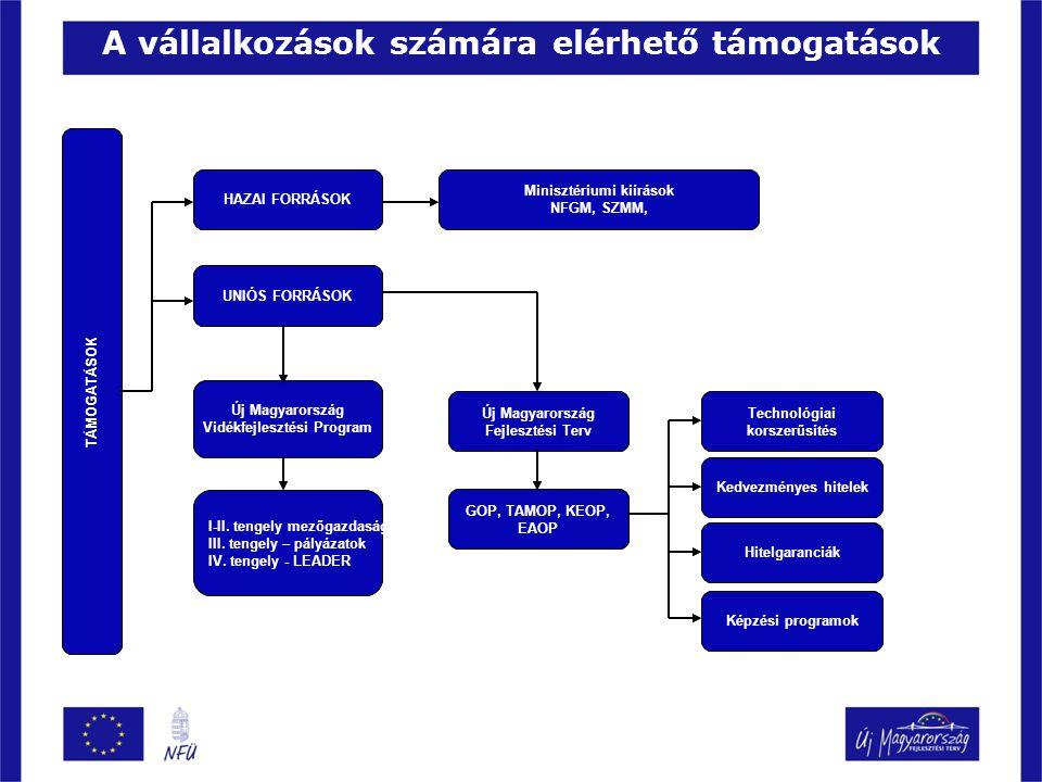 Lehatárolások a programok között Megvalósulás helye szerinti lehatárolások: Új Magyarország Fejlesztési Terv- Új Magyarország Vidékfejlesztési Program ÚMFT: Alapvetően városi rangú és/vagy 5000 fő és 100 fő/km2 népsűrűségű feletti települések KKV-i ÚMVP: 5000 fő és 100fő/km2 népsűrűség alatti települések mikro vállalkozásai Foglalkoztatott létszám: Nettó éves árbevétel: Kis- és középvállalkozás (KKV)< 250 fő <50 millió EUR (< 12 500 millió Ft) A KKV kategórián belül Kisvállalkozás< 50 fő <10 millió EUR (< 2 500 millió Ft) Mikrovállalkozás< 10 fő <2 millió EUR (< 500 millió Ft)