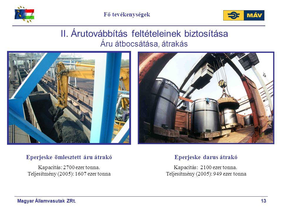 Magyar Államvasutak ZRt.13 II. Árutovábbítás feltételeinek biztosítása Áru átbocsátása, átrakás Eperjeske ömlesztett áru átrakó Kapacitás: 2700 ezer t