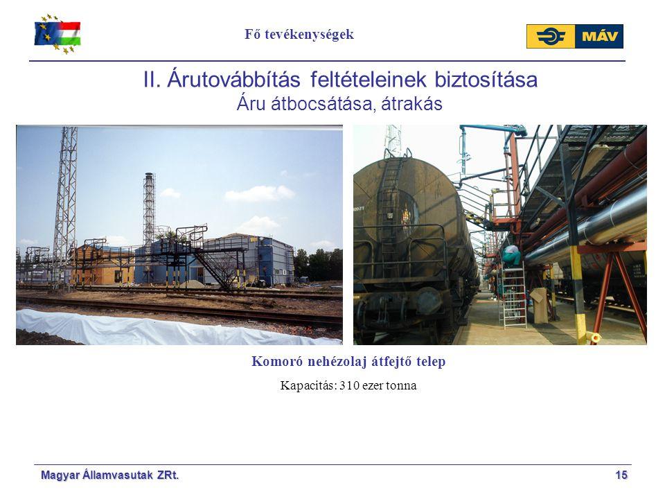 Magyar Államvasutak ZRt.15 II. Árutovábbítás feltételeinek biztosítása Áru átbocsátása, átrakás Komoró nehézolaj átfejtő telep Kapacitás: 310 ezer ton