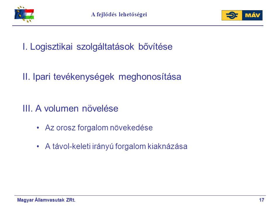 A fejlődés lehetőségei 17Magyar Államvasutak ZRt. I. Logisztikai szolgáltatások bővítése II. Ipari tevékenységek meghonosítása III. A volumen növelése