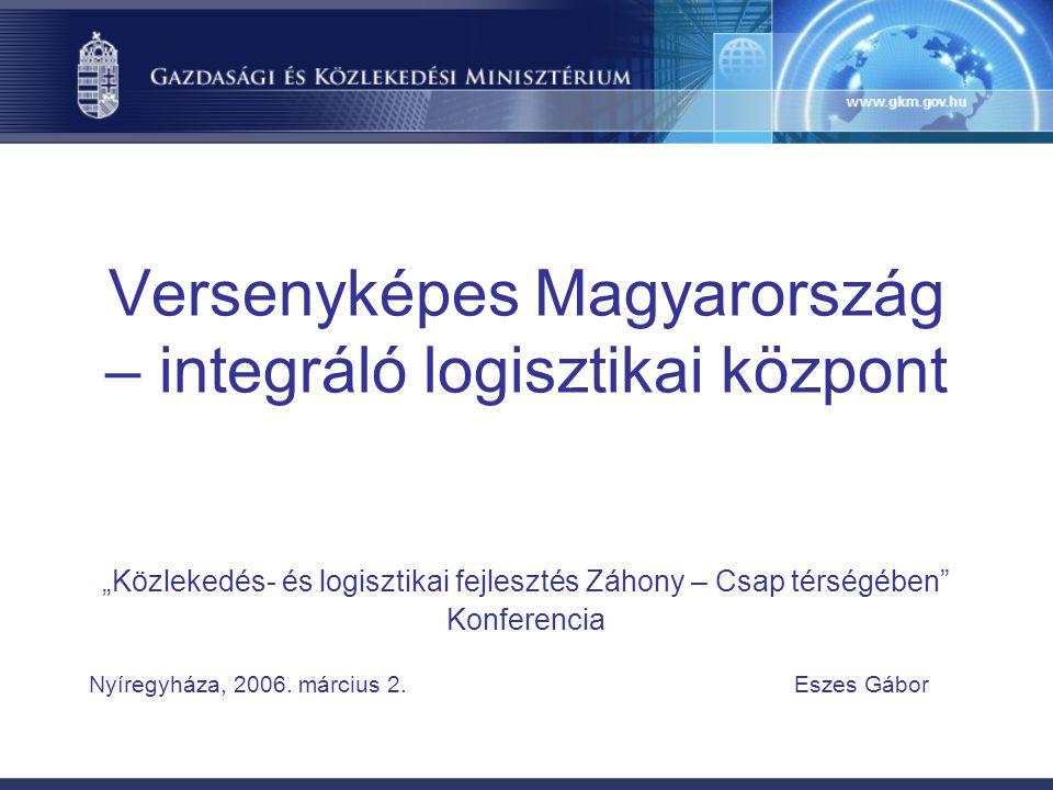 """Versenyképes Magyarország – integráló logisztikai központ """"Közlekedés- és logisztikai fejlesztés Záhony – Csap térségében Konferencia Nyíregyháza, 2006."""