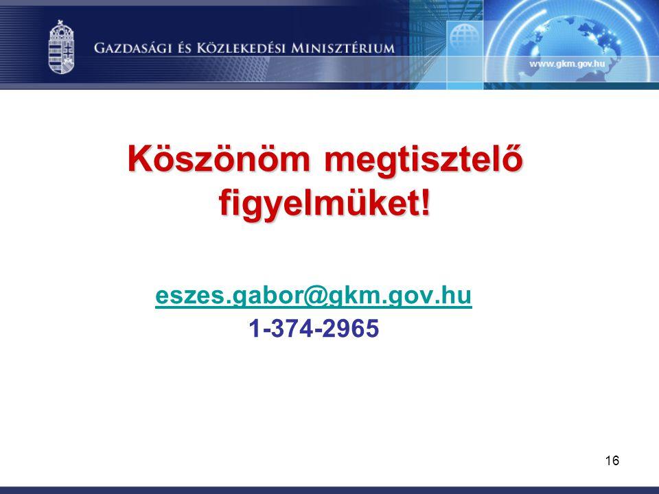 16 Köszönöm megtisztelő figyelmüket! eszes.gabor@gkm.gov.hu 1-374-2965