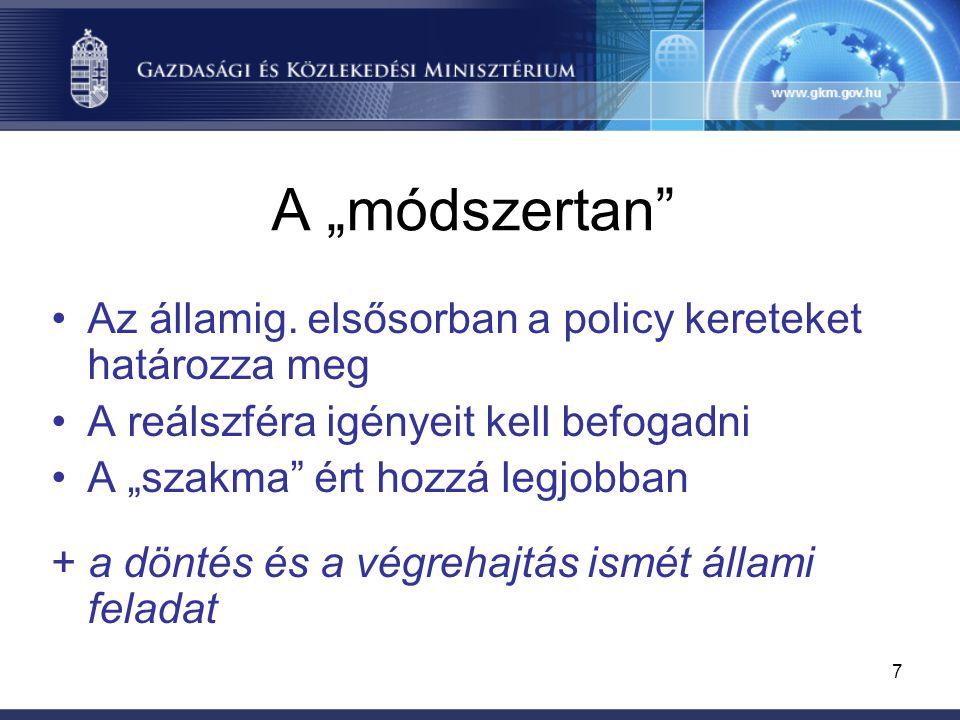 """7 A """"módszertan"""" Az államig. elsősorban a policy kereteket határozza meg A reálszféra igényeit kell befogadni A """"szakma"""" ért hozzá legjobban + a dönté"""