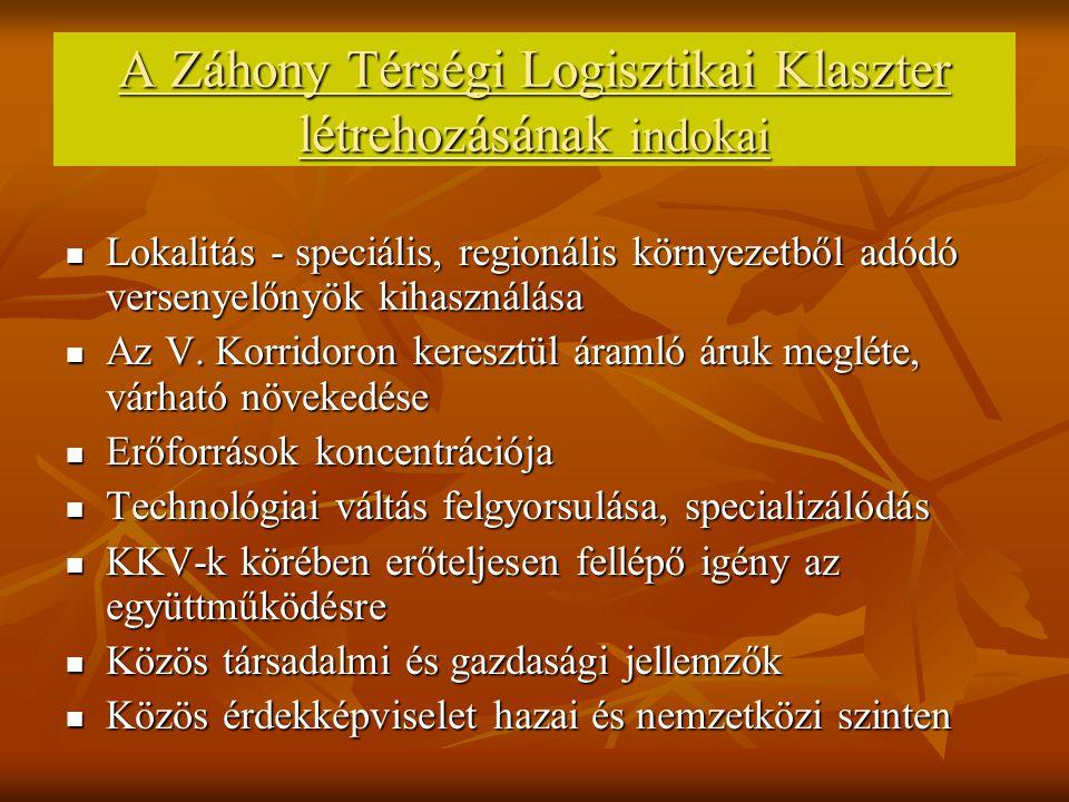 A Záhony Térségi Logisztikai Klaszter létrehozásának indokai Lokalitás - speciális, regionális környezetből adódó versenyelőnyök kihasználása Lokalitás - speciális, regionális környezetből adódó versenyelőnyök kihasználása Az V.