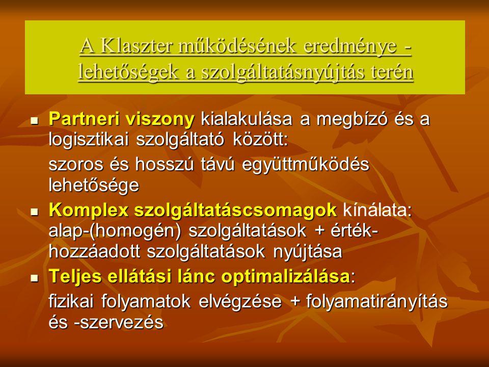 A Klaszter tagok együttműködésének területei A.Megrendelések szerzése: 1.