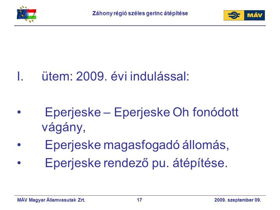 MÁV Magyar Államvasutak Zrt. 2009. szeptember 09.17 Záhony régió széles gerinc átépítése I.ütem: 2009. évi indulással: Eperjeske – Eperjeske Oh fonódo