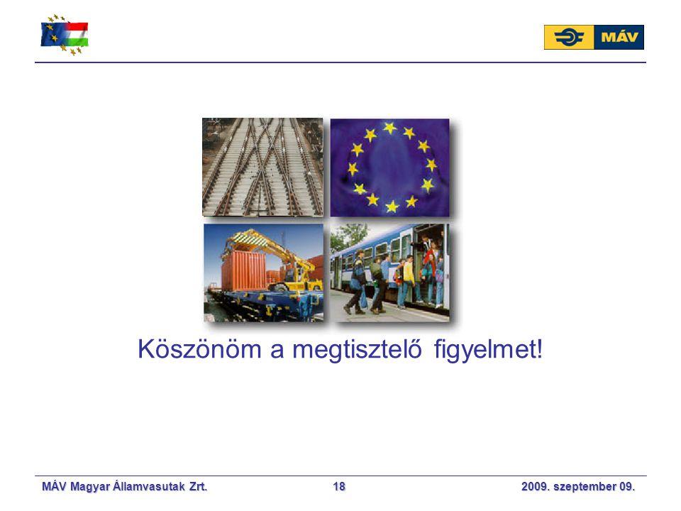 MÁV Magyar Államvasutak Zrt. 2009. szeptember 09.18 Köszönöm a megtisztelő figyelmet!
