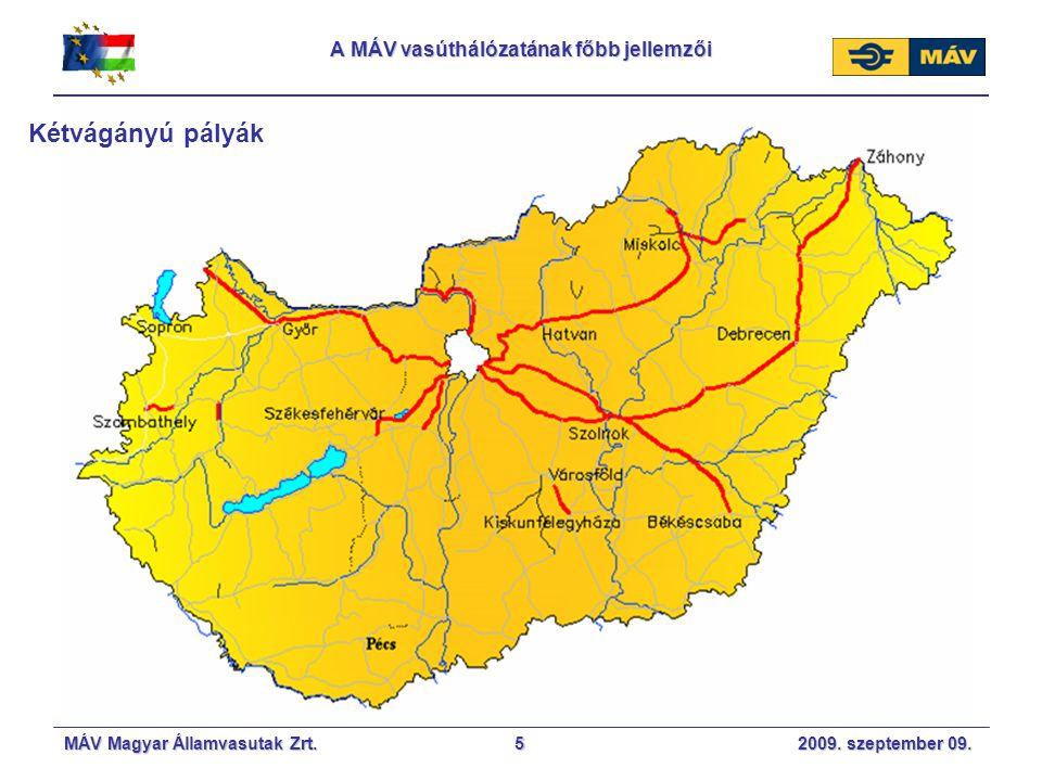 MÁV Magyar Államvasutak Zrt. 2009. szeptember 09.5 A MÁV vasúthálózatának főbb jellemzői Kétvágányú pályák