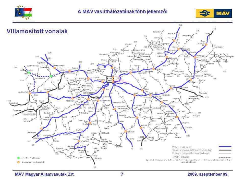 MÁV Magyar Államvasutak Zrt. 2009. szeptember 09.7 A MÁV vasúthálózatának főbb jellemzői Villamosított vonalak