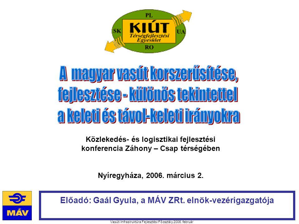 Vasúti Infrastruktúra Fejlesztési Főosztály 2006. február Előadó: Gaál Gyula, a MÁV ZRt.