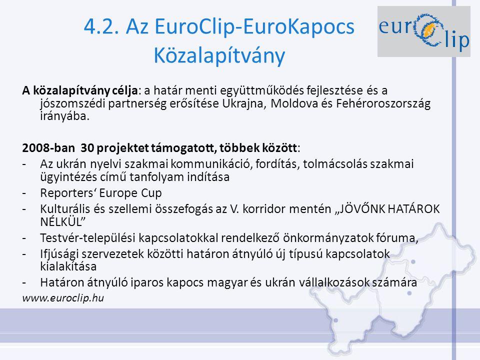 4.2. Az EuroClip-EuroKapocs Közalapítvány A közalapítvány célja: a határ menti együttműködés fejlesztése és a jószomszédi partnerség erősítése Ukrajna