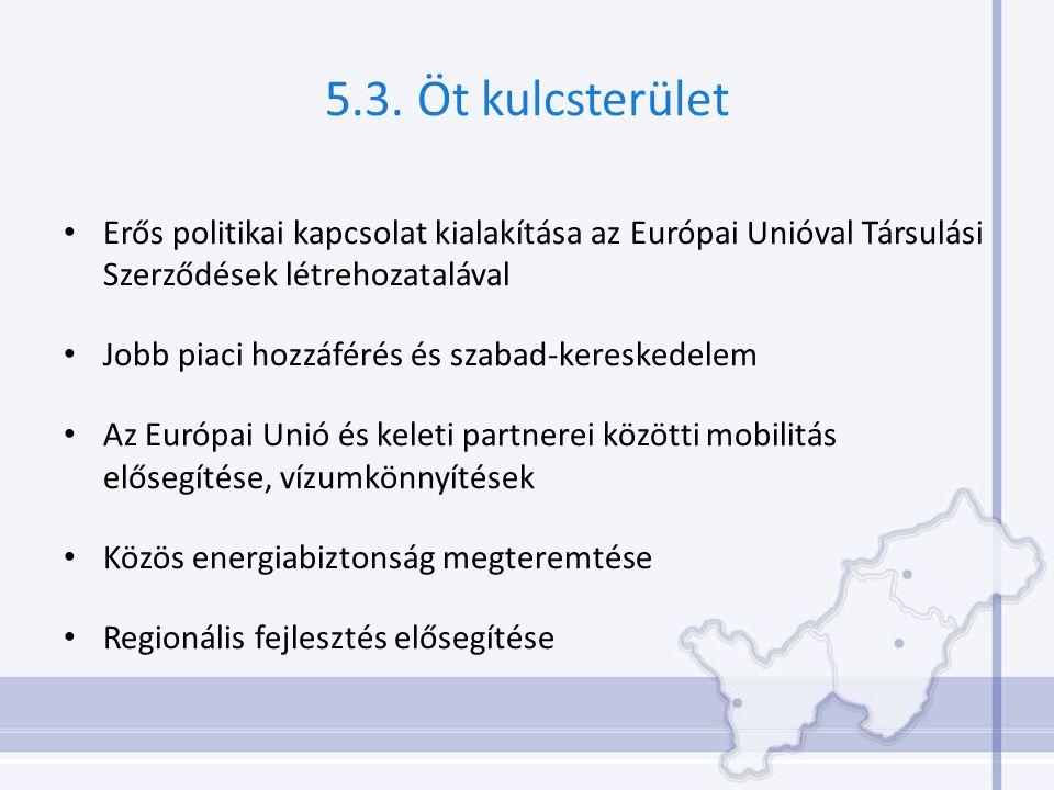 5.3. Öt kulcsterület Erős politikai kapcsolat kialakítása az Európai Unióval Társulási Szerződések létrehozatalával Jobb piaci hozzáférés és szabad-ke