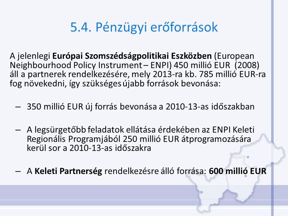 5.4. Pénzügyi erőforrások A jelenlegi Európai Szomszédságpolitikai Eszközben (European Neighbourhood Policy Instrument – ENPI) 450 millió EUR (2008) á