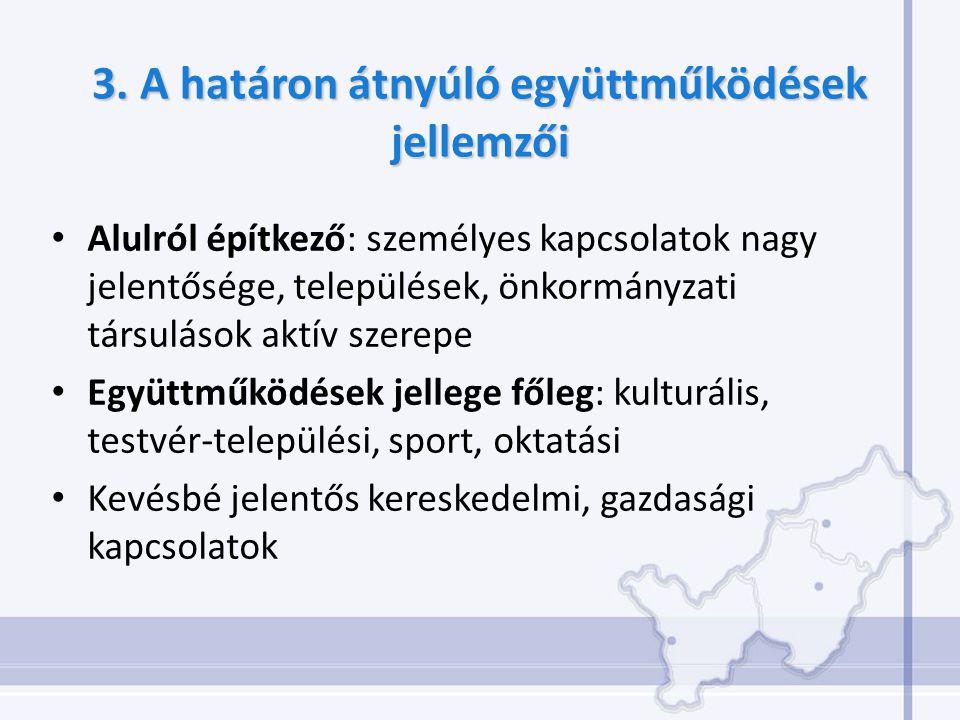 3. A határon átnyúló együttműködések jellemzői Alulról építkező: személyes kapcsolatok nagy jelentősége, települések, önkormányzati társulások aktív s