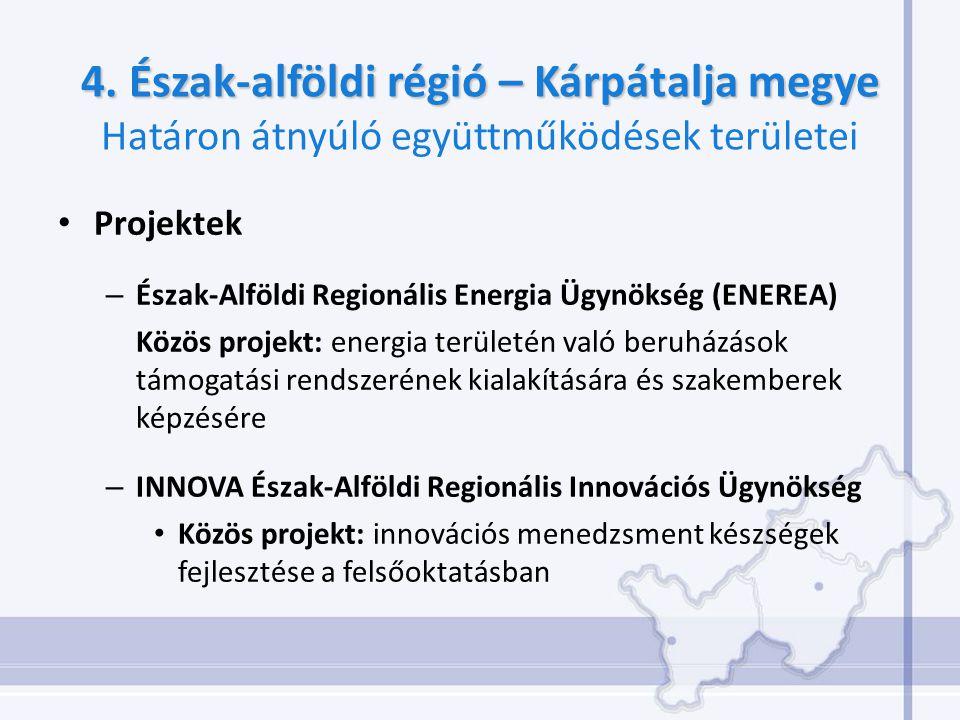 4. Észak-alföldi régió – Kárpátalja megye 4. Észak-alföldi régió – Kárpátalja megye Határon átnyúló együttműködések területei Projektek – Észak-Alföld