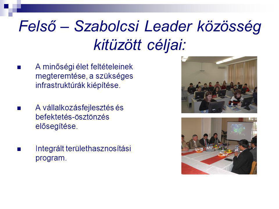Felső – Szabolcsi Leader közösség kitüzött céljai: A minőségi élet feltételeinek megteremtése, a szükséges infrastruktúrák kiépítése. A vállalkozásfej