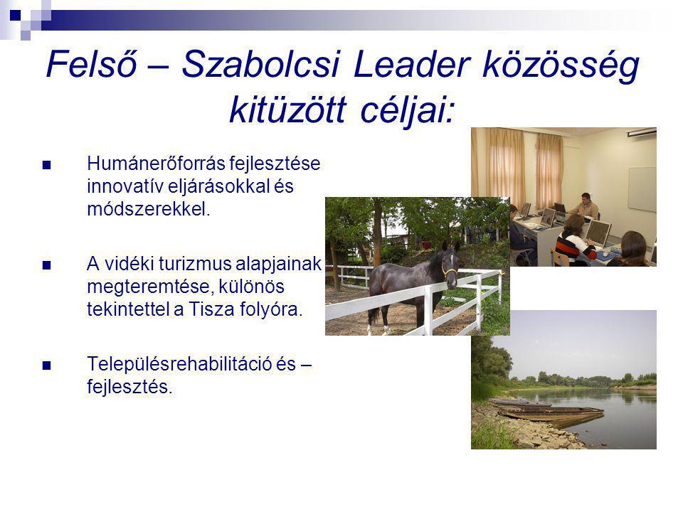 Felső – Szabolcsi Leader közösség kitüzött céljai: Humánerőforrás fejlesztése innovatív eljárásokkal és módszerekkel.