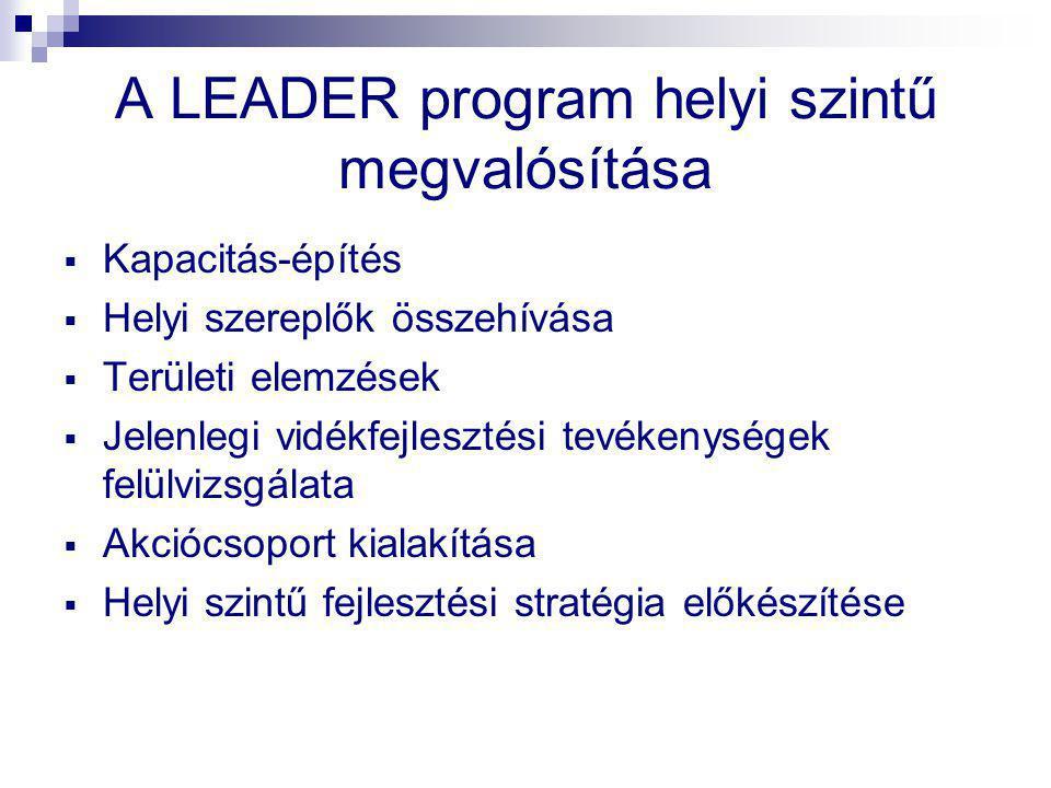 A LEADER program helyi szintű megvalósítása  Kapacitás-építés  Helyi szereplők összehívása  Területi elemzések  Jelenlegi vidékfejlesztési tevékenységek felülvizsgálata  Akciócsoport kialakítása  Helyi szintű fejlesztési stratégia előkészítése