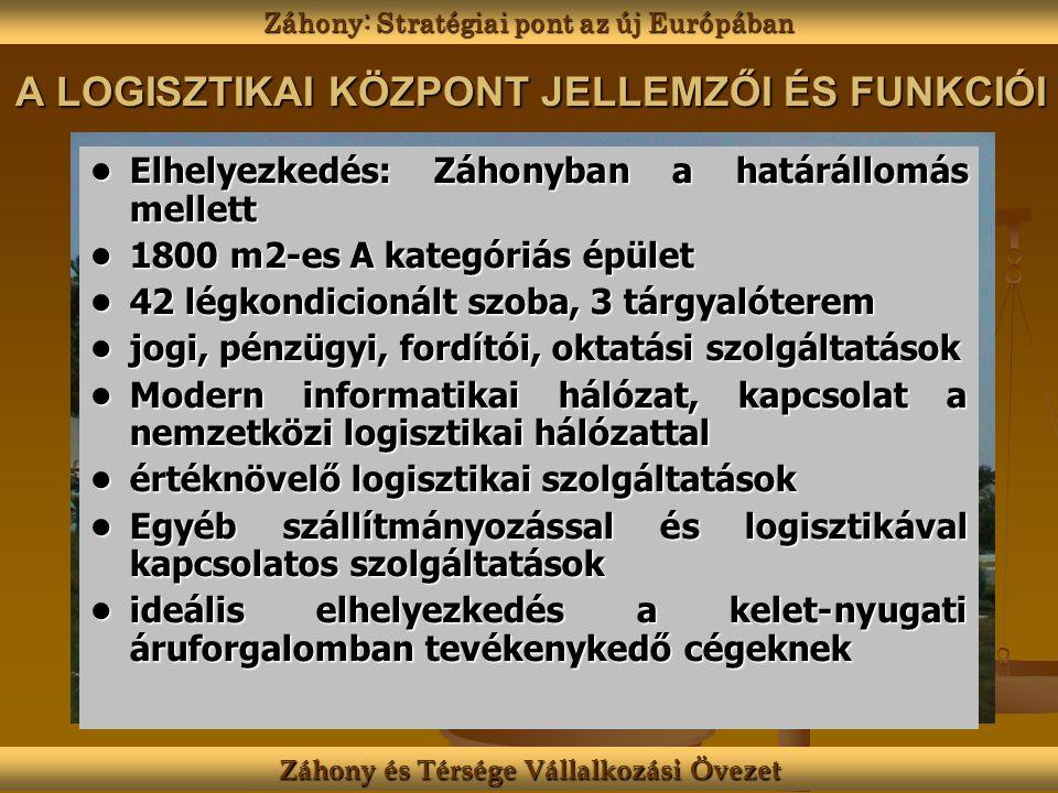 A LOGISZTIKAI KÖZPONT JELLEMZŐI ÉS FUNKCIÓI Elhelyezkedés: Záhonyban a határállomás mellettElhelyezkedés: Záhonyban a határállomás mellett 1800 m2-es