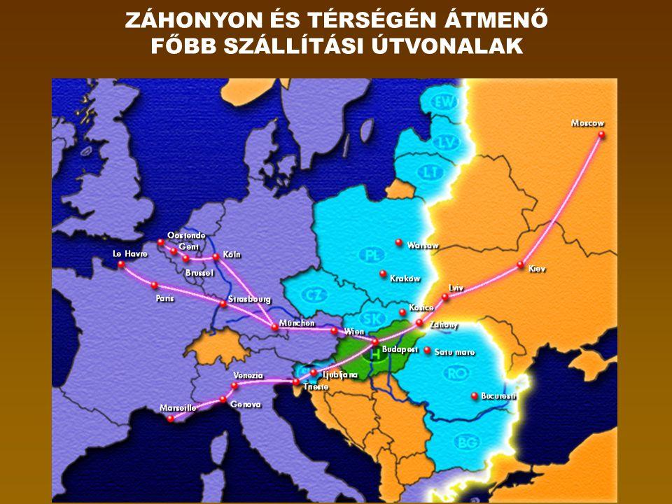 ZÁHONYON ÉS TÉRSÉGÉN ÁTMENŐ FŐBB SZÁLLÍTÁSI ÚTVONALAK
