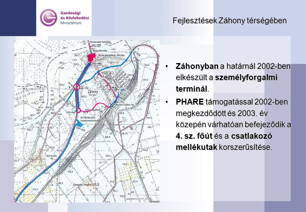 Fejlesztések Záhony térségében Záhonyban a határnál 2002-ben elkészült a személyforgalmi terminál.Záhonyban a határnál 2002-ben elkészült a személyfor