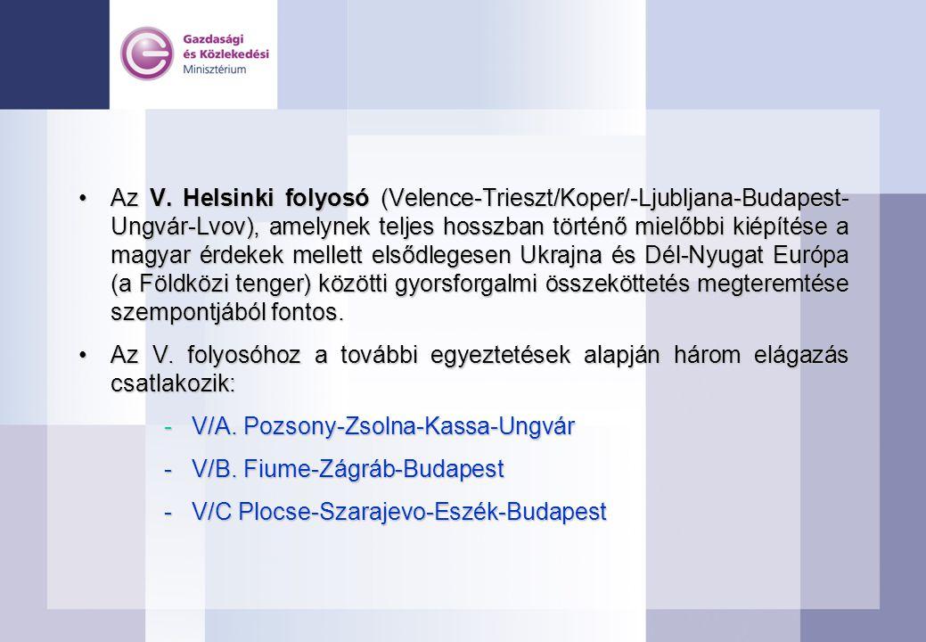 Az V. Helsinki folyosó (Velence-Trieszt/Koper/-Ljubljana-Budapest- Ungvár-Lvov), amelynek teljes hosszban történő mielőbbi kiépítése a magyar érdekek