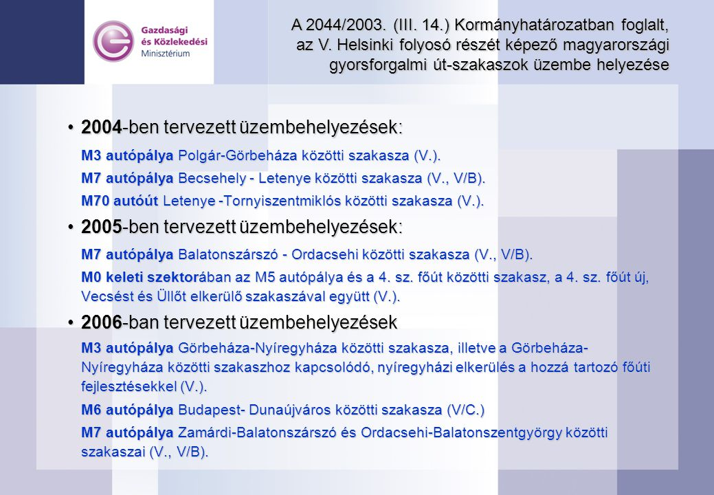A 2044/2003. (III. 14.) Kormányhatározatban foglalt, az V. Helsinki folyosó részét képező magyarországi gyorsforgalmi út-szakaszok üzembe helyezése 20