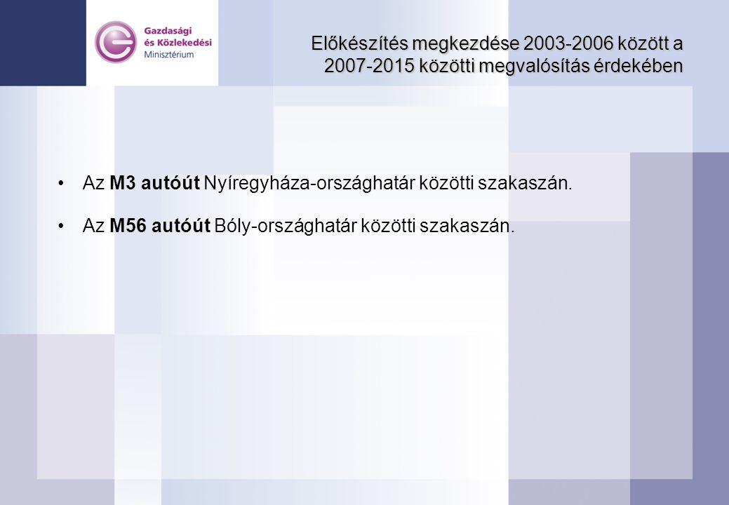 Előkészítés megkezdése 2003-2006 között a 2007-2015 közötti megvalósítás érdekében Az M3 autóút Nyíregyháza-országhatár közötti szakaszán. Az M56 autó