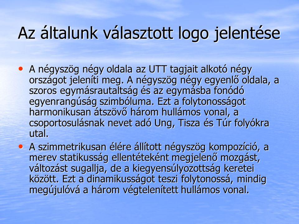 Az általunk választott logo jelentése A négyszög négy oldala az UTT tagjait alkotó négy országot jeleníti meg.