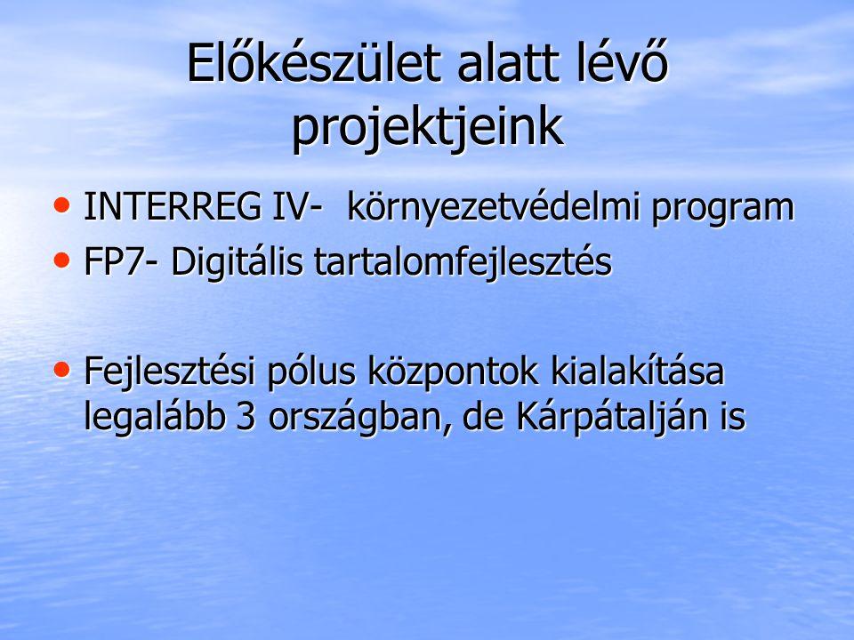 Előkészület alatt lévő projektjeink INTERREG IV- környezetvédelmi program INTERREG IV- környezetvédelmi program FP7- Digitális tartalomfejlesztés FP7- Digitális tartalomfejlesztés Fejlesztési pólus központok kialakítása legalább 3 országban, de Kárpátalján is Fejlesztési pólus központok kialakítása legalább 3 országban, de Kárpátalján is