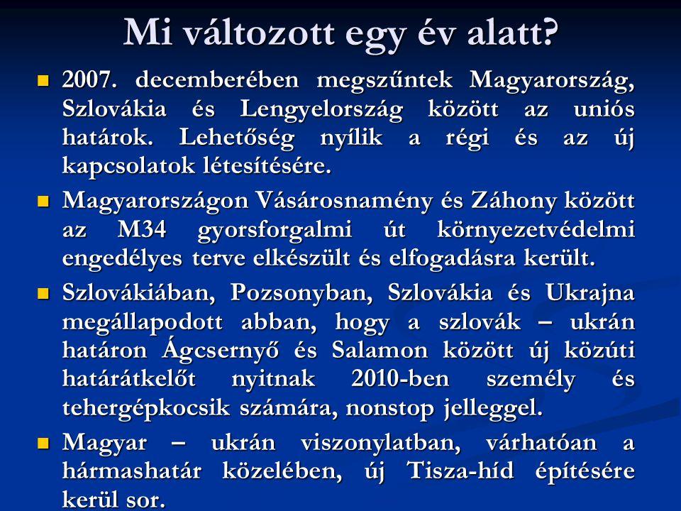 Mi változott egy év alatt? 2007. decemberében megszűntek Magyarország, Szlovákia és Lengyelország között az uniós határok. Lehetőség nyílik a régi és