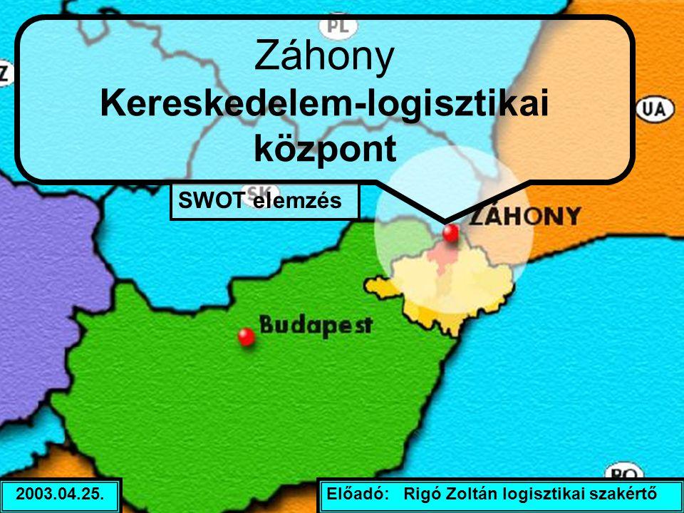 Előadó: Rigó Zoltán logisztikai szakértő2003.04.25. Záhony Kereskedelem-logisztikai központ SWOT elemzés