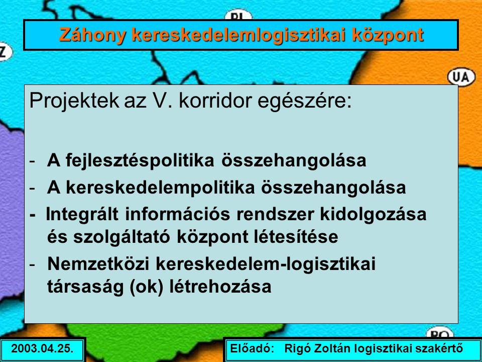 Előadó: Rigó Zoltán logisztikai szakértő2003.04.25. Projektek az V. korridor egészére: -A fejlesztéspolitika összehangolása -A kereskedelempolitika ös