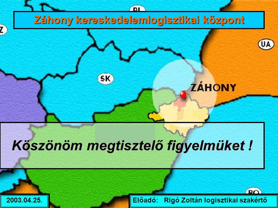 Előadó: Rigó Zoltán logisztikai szakértő2003.04.25. Záhony kereskedelemlogisztikai központ Köszönöm megtisztelő figyelmüket !