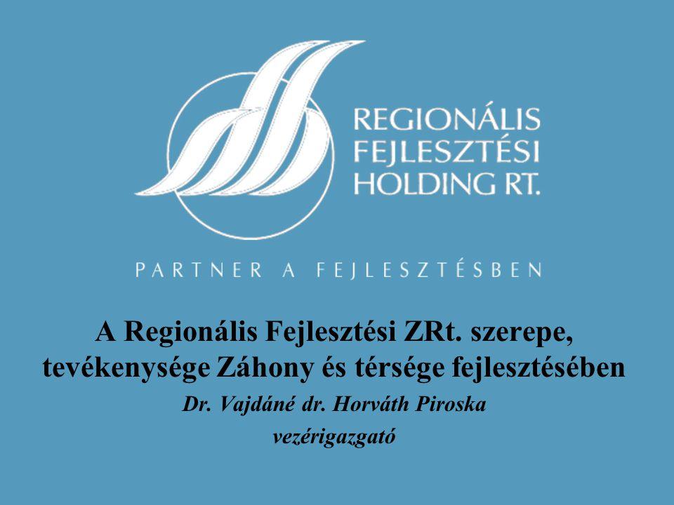 A Regionális Fejlesztési ZRt. szerepe, tevékenysége Záhony és térsége fejlesztésében Dr.