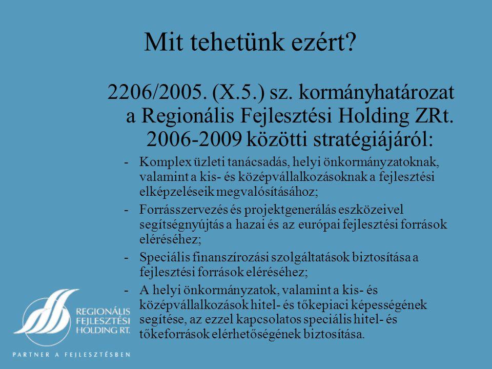 Mit tehetünk ezért. 2206/2005. (X.5.) sz. kormányhatározat a Regionális Fejlesztési Holding ZRt.