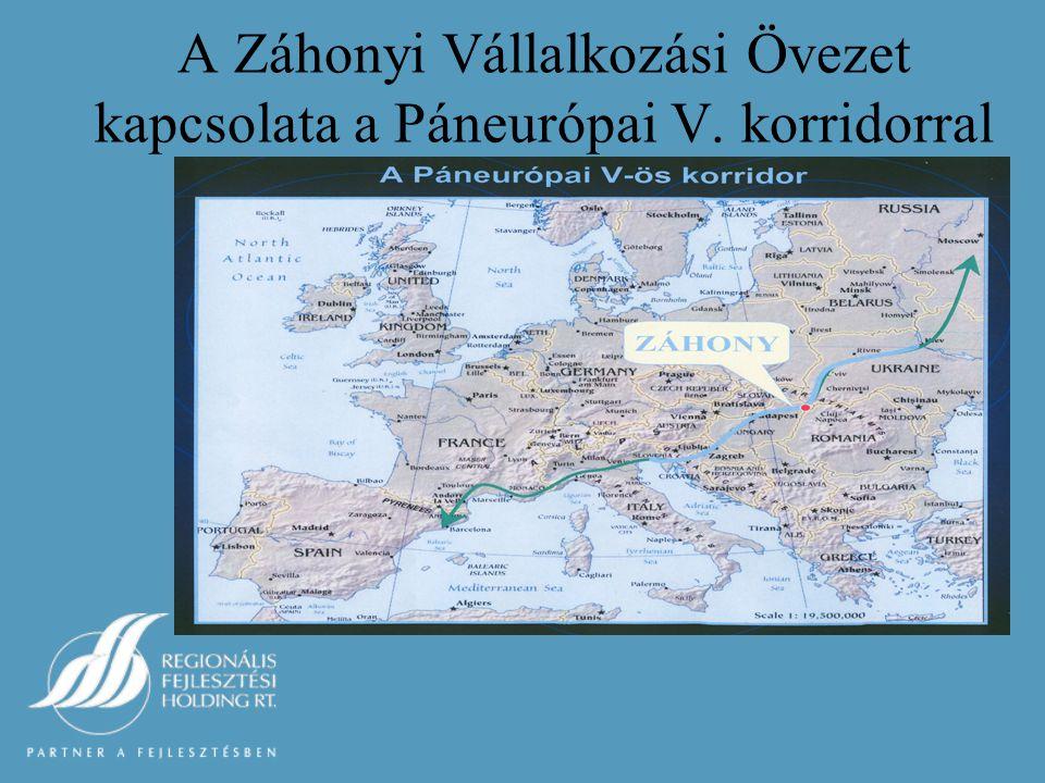 A Záhonyi Vállalkozási Övezet kapcsolata a Páneurópai V. korridorral
