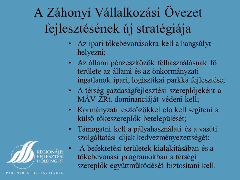 A Záhonyi Vállalkozási Övezet fejlesztésének új stratégiája Az ipari tőkebevonásokra kell a hangsúlyt helyezni; Az állami pénzeszközök felhasználásnak fő területe az állami és az önkormányzati ingatlanok ipari, logisztikai parkká fejlesztése; A térség gazdaságfejlesztési szereplőjeként a MÁV ZRt.