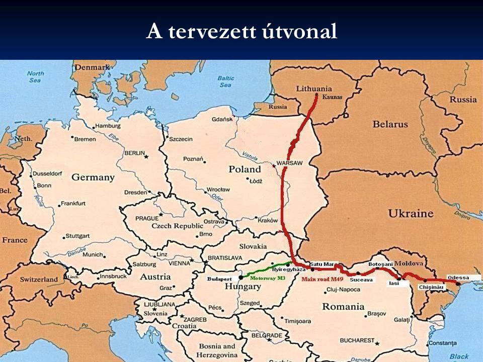 A tervezett útvonal