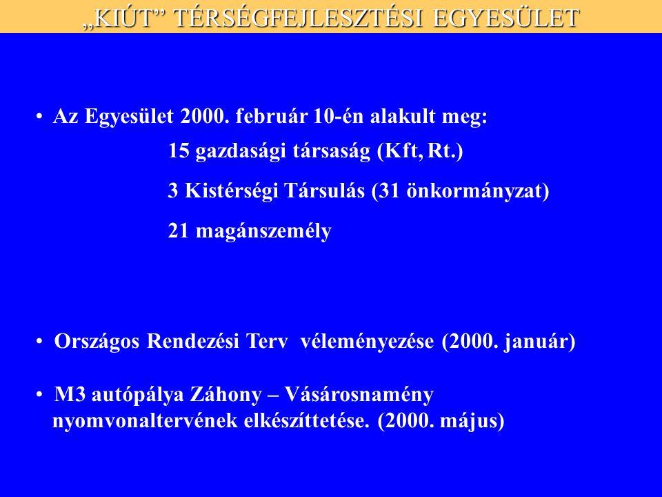 """""""KIÚT TÉRSÉGFEJLESZTÉSI EGYESÜLET Az Egyesület 2000."""