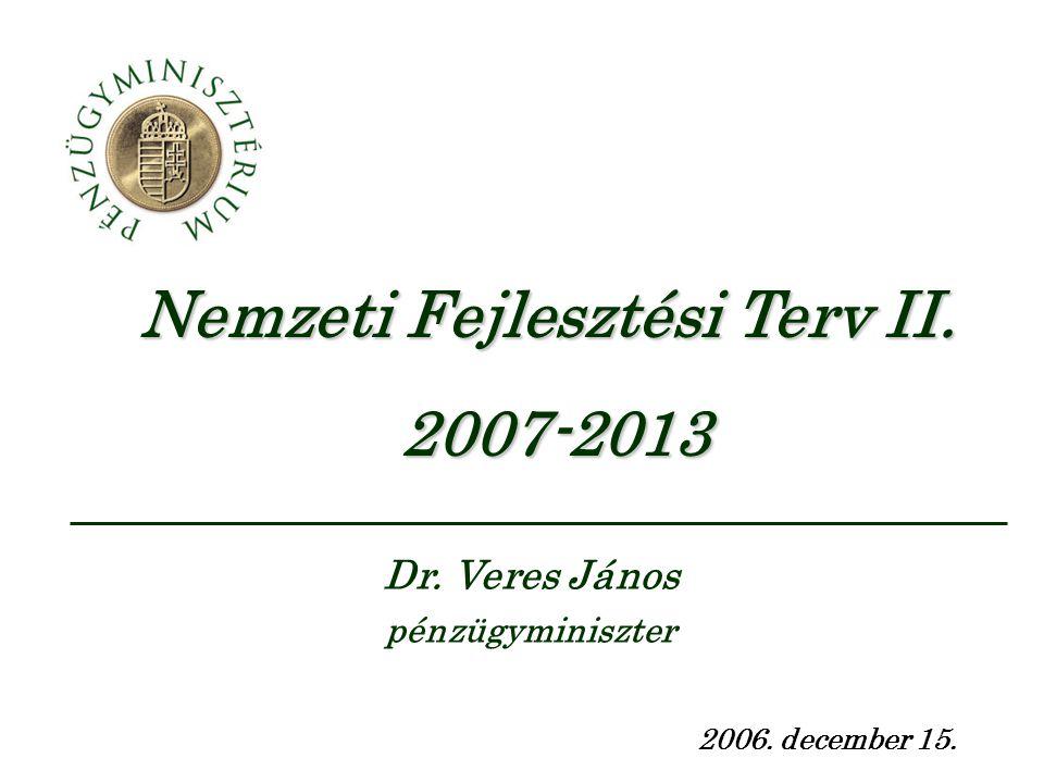 Nemzeti Fejlesztési Terv II. 2007-2013 2006. december 15. Dr. Veres János pénzügyminiszter