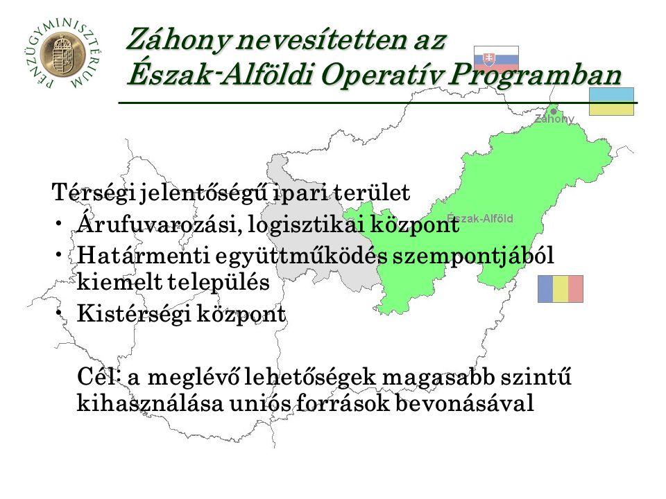 Záhony nevesítetten az Észak-Alföldi Operatív Programban Térségi jelentőségű ipari terület Árufuvarozási, logisztikai központ Határmenti együttműködés szempontjából kiemelt település Kistérségi központ Cél: a meglévő lehetőségek magasabb szintű kihasználása uniós források bevonásával
