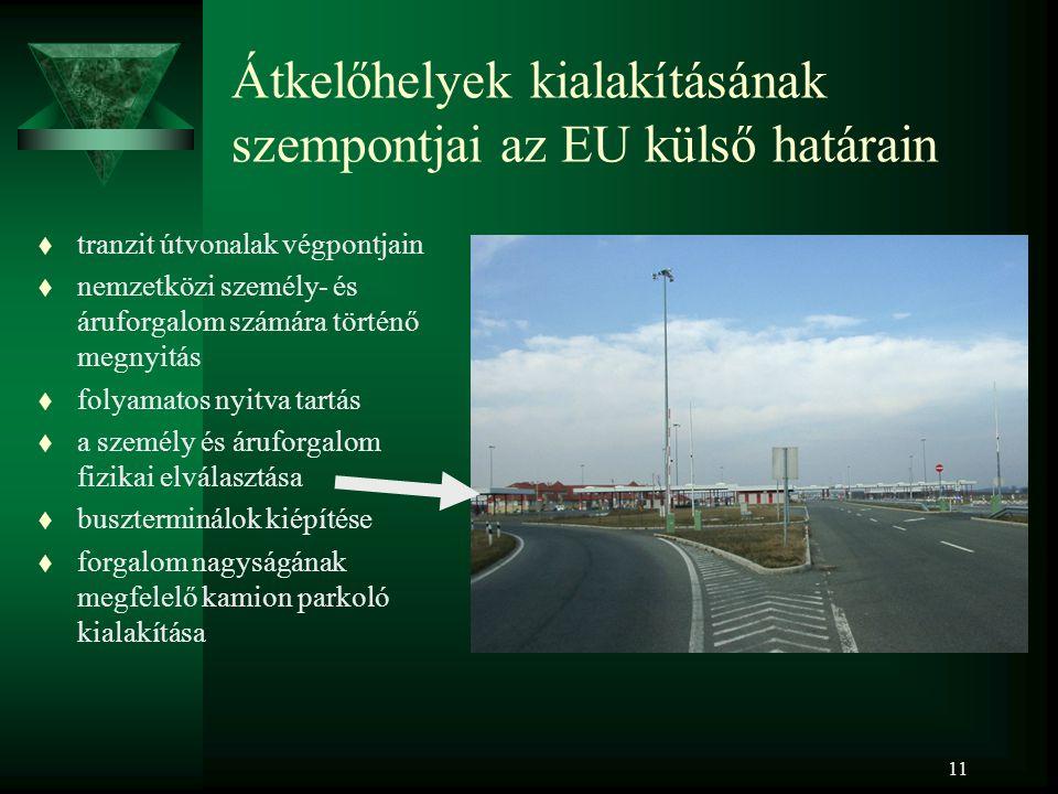 11 Átkelőhelyek kialakításának szempontjai az EU külső határain t tranzit útvonalak végpontjain t nemzetközi személy- és áruforgalom számára történő m