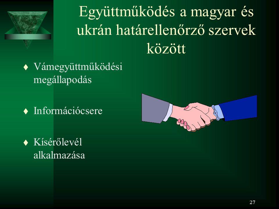 27 Együttműködés a magyar és ukrán határellenőrző szervek között t Vámegyüttműködési megállapodás t Információcsere t Kísérőlevél alkalmazása