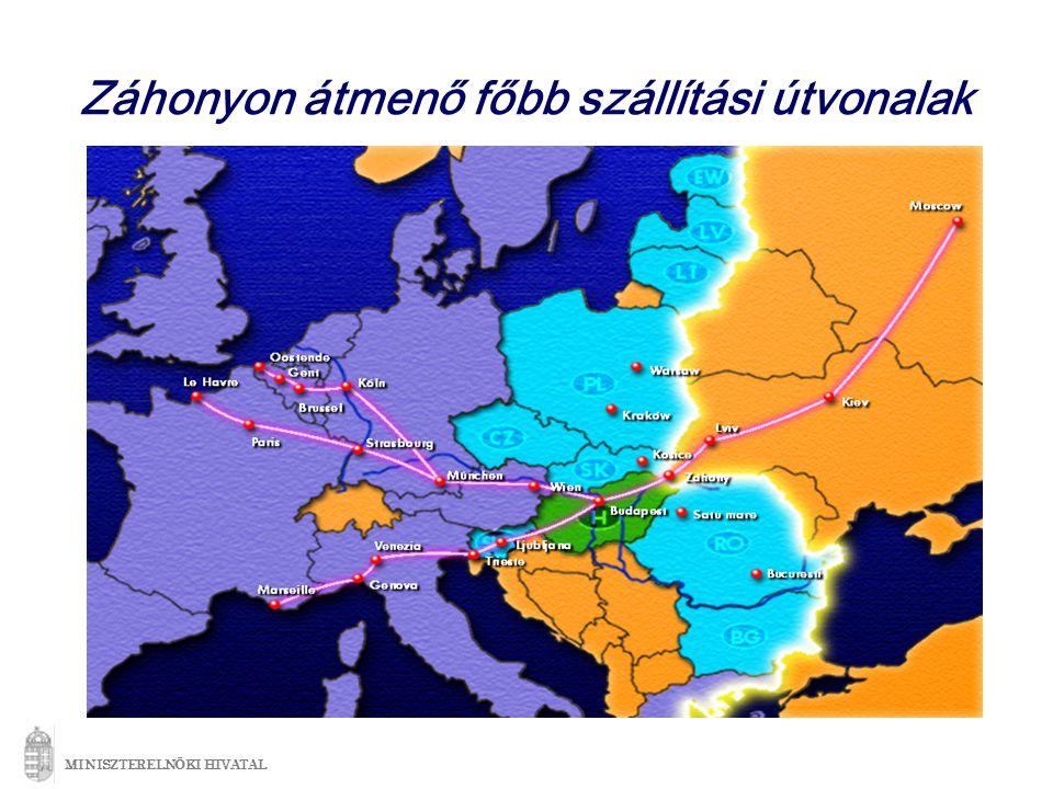Záhonyon átmenő főbb szállítási útvonalak MINISZTERELNÖKI HIVATAL