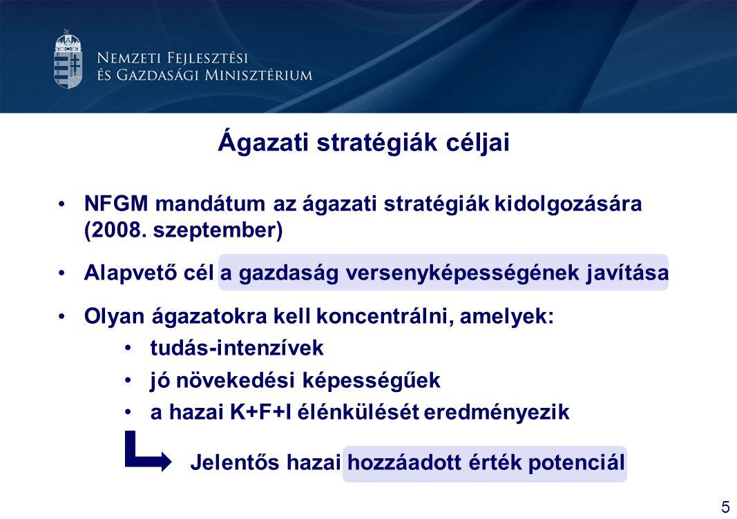 Ágazati stratégiák céljai NFGM mandátum az ágazati stratégiák kidolgozására (2008. szeptember) Alapvető cél a gazdaság versenyképességének javítása Ol