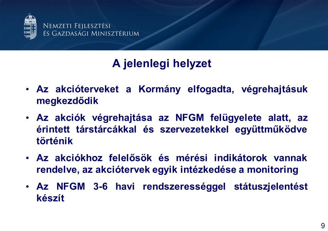Gyógyszeripari akcióterv: Jövőkép és Célok Jövőkép A jelenlegi káros folyamatok megállítása és visszafordítása Szinergia a gyógyszeripar és a biotechnológia között Nemzetközi kutató-fejlesztő bázisok létrehozása Magyarországon Célok Magyarországon fennmaradjon a gyógyszeripar Szektor versenyképes működéséhez kedvező környezet kialakítása Gyógyszeripari K+F magas szinten tartásának biztosítása 20