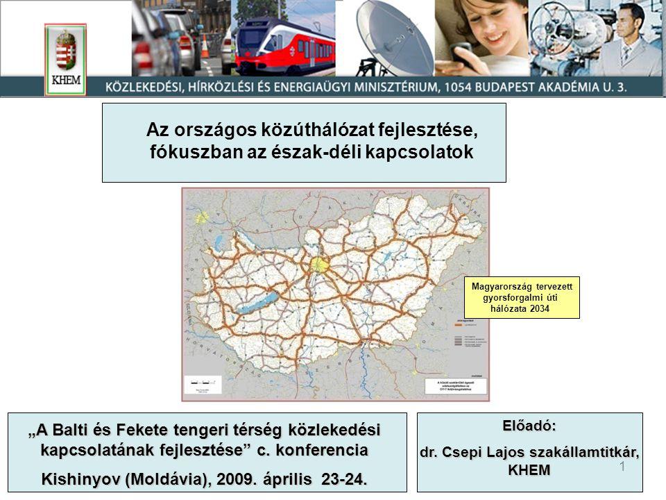 2 Magyarország főúthálózata az utóbbi évek fejlesztéseivel 2009 január 1-i állapot 7 958 km főút